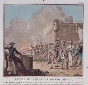 Lifting of the Siege of Pondicherry, 1748, engraved 1789 (colour litho)