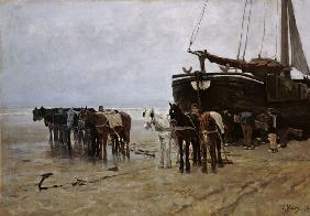 Boat on the Beach at Scheveningen 1876