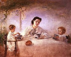 The artist's wife Sophie with their daughters Mathilda and Adele 1873