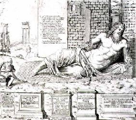 The 'talking' statue of Marforio in Rome, engraved by the artist 1550