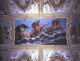 The Personification of Night riding across the sky in a chariot, ceiling painting