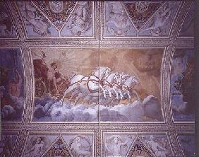 The Sun God driving his chariot across the sky, ceiling painting