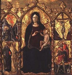 Triptych: Madonna and Child (central panel) with Saints and a scene of the Crucifixion (tempera on p 15th
