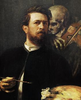Kunstdruck von Arnold Böcklin - Selbstbildnis mit fiedeldem Tod