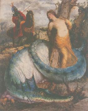 Kunstdruck von Arnold Böcklin - Angelika wird von einem Drachen bewacht
