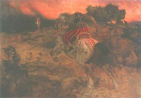 Kunstdruck von Arnold Böcklin - Astolf reitet mit dem Haupte Orills davon.