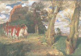 Kunstdruck von Arnold Böcklin - Austritt der maurischen Reiter