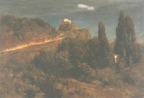 Kunstdruck von Arnold Böcklin - Bergschloss mit Kriegerzug
