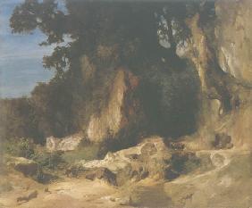 Kunstdruck von Arnold Böcklin - Felshang im Albanergebirge