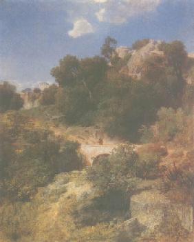 Kunstdruck von Arnold Böcklin - Felsiges Bergland mit Brücke