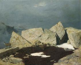 Kunstdruck von Arnold Böcklin - Hochgebirgslandschaft mit Gemsen