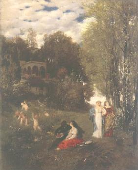 Kunstdruck von Arnold Böcklin - Ideale Frühlingslandschaft