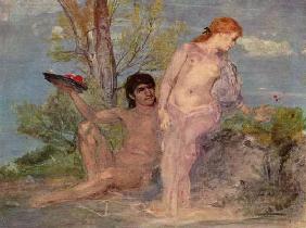 Kunstdruck von Arnold Böcklin - Liebespaar vor Buschwerk