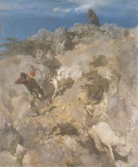 Kunstdruck von Arnold Böcklin - Pan erschreckt einen Hirten l