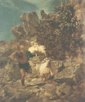 Kunstdruck von Arnold Böcklin - Pan erschreckt einen Hirten ll