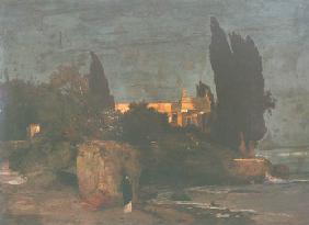 Kunstdruck von Arnold Böcklin - Villa am Meer l