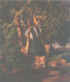 Kunstdruck von Arnold Böcklin - Waldrand mit Kentaur und Nymphe