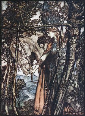 "Brünnhilde führt ihr Ross am Zaume. Illustration für ""The Rhinegold and The Valkyrie"" von Richard Wa 1910"