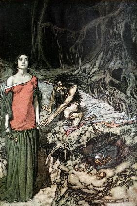 "Die Brautwerbung um Kriemhild. Illustration für ""Siegfried and The Twilight of the Gods"" von Richard 1910"