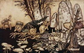 A band of workmen, who were sawing down a toadstool, rushed away, leaving their tools behind them fr
