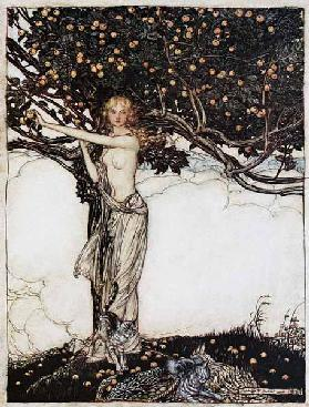 "Freia, die gute. Illustration für ""The Rhinegold and The Valkyrie"" von Richard Wagner 1910"