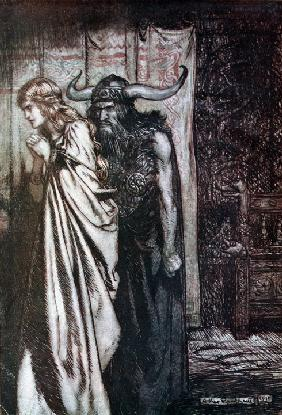"Wer dich verriet, das räche ich. Illustration für ""Siegfried and The Twilight of the Gods"" von Richa 1910"
