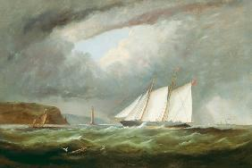 Schooner Yacht 'Esmeralda' in Alderney Roads off Cap le Hague 1861