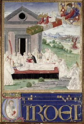The Funeral of St. Benedict (480-527) with St. Romauld (c.951-1027) 1502 (vellum) 18th
