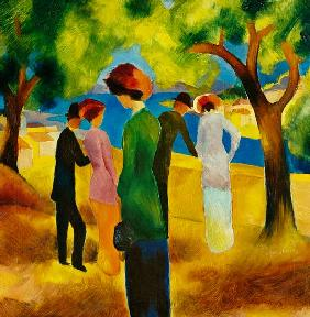 August Macke - Dame in gr�ner Jacke