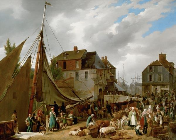 Loading Livestock onto the 'Passager' in the Port of Honfleur 1823