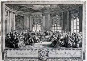 The Concert at the house of the Countess of Saint Brisson, engraved by L. Provost