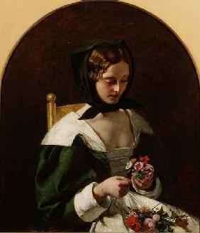 Girl Making a Bouquet of Flowers 1849