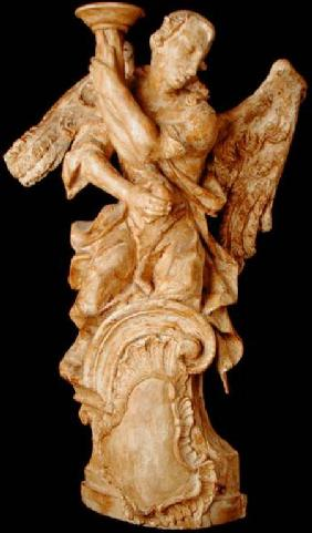 One of a pair of carved angel candlesticks c.1700 (li
