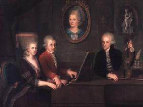 Portrait of Leopold Mozart (1719-87) and his Children, Wolfgang Amadeus (1756-91) and Maria Anna (17 1780-81