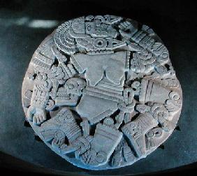 Carving of the dismemberment of the moon goddess Coyolxauhqui, found at the foot of the twin pyramid Late Post