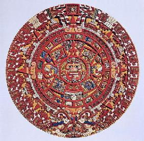 Imaginary recreation of an Aztec Sun Stone calendar (see also 115255), Late Post Classic Period (lit 19th