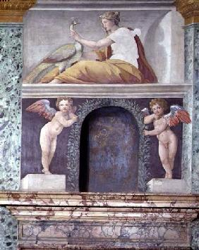 The 'Sala delle Prospettive' (Hall of Perspective) detail of trompe l'oeil niche depicting the godde 1518-19