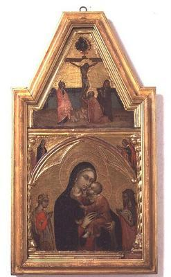 Madonna and Child with St. John the Baptist and St. Catherine, with Crucifixion scene above