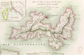 Map of the Island of Elba, engraved by Jean-Baptiste Tardieu (1768-1837) 1814 (coloured engraving) 19th