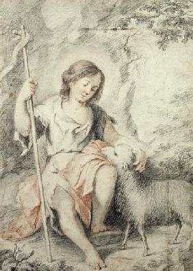 The Young John the Baptist with the Lamb in a Rocky Landscape (red and black chalk on paper)