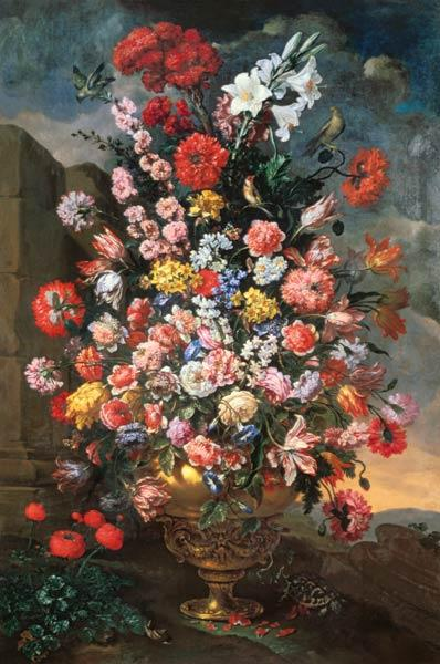 Lilies, Tulips, Carnations, Peonies, Convolvuli And Other Flowers In A Bronze Urn With Birds 1718