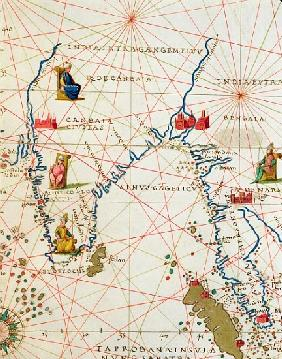 India and Malaysia, from an Atlas of the World in 33 Maps, Venice, 1st September 1553(detail from 33