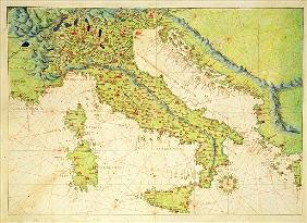 Italy, from an Atlas of the World in 33 Maps, Venice, 1st September 1553 (ink on vellum)