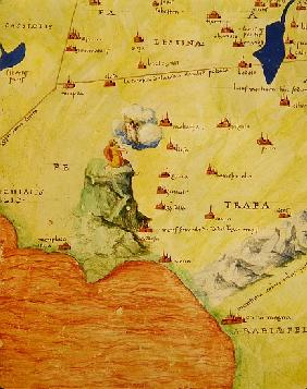 Mount Sinai and the Red Sea, from an Atlas of the World in 33 Maps, Venice, 1st September 1553(detai