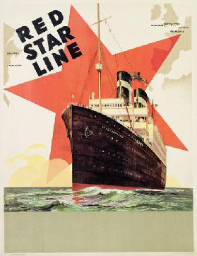 Poster advertising the Red Star Line, printed by L. Gaudio, Anvers c.1930