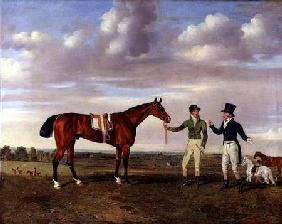 """Zinganee"" held by Sam Chifney Junior (1786-1855) with the owner Mr. William Chifney, at Newmarket c.1829"