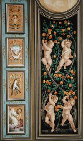 Fresco of Cupids from the Church of St. Ambroglio, Milan, from 'Palaces and Churches in Italy Painte published