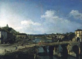 View of an Old Bridge Over the River Po, Turin 1745