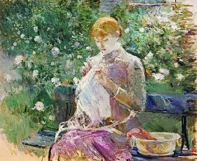 Pasie sewing in Bougival's Garden, 1881 (oil on canvas) 19th
