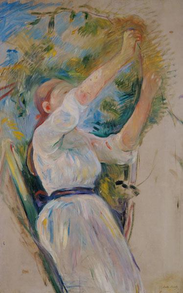 Girl gathering cherries, 1891 (oil on canvas) 19th